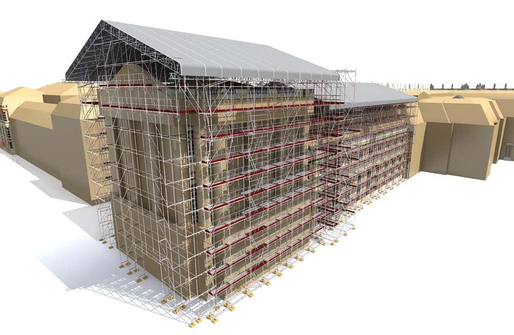 Vue 3D de l'échafaudage installé sur le Pavillon Dufour et la Vieille